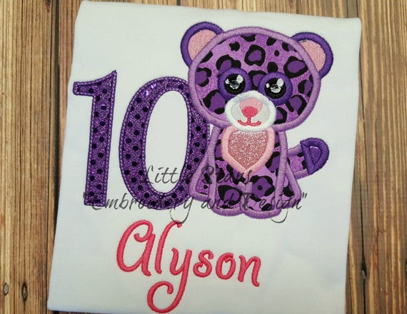 b4d20cad99a Beanie Boo Leopard Glamour Embroidered and Personalized