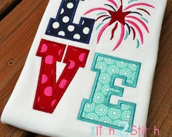 Love 4th of July Applique Tshirt - Personalized