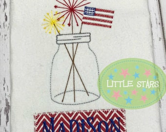 4th of July Sparklers with Flag Mason Jar - Vintage Stitch shirt