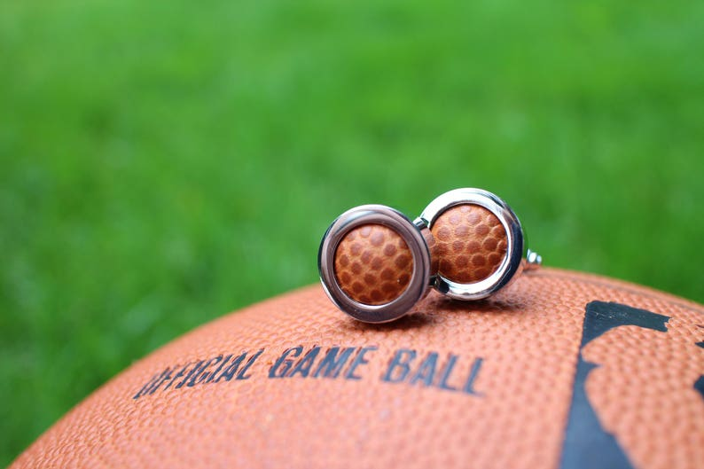 Official Game Ball Game Used Basketball Cufflinks
