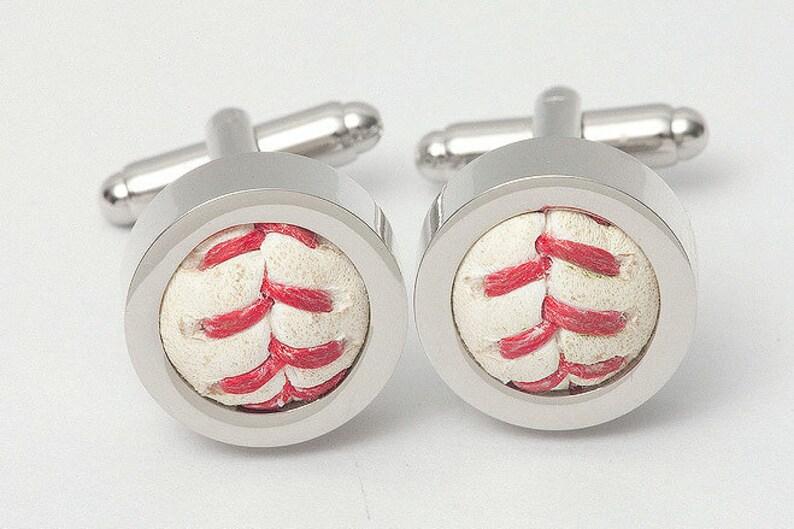 Baseball Cufflinks made from a real Game Used baseball!