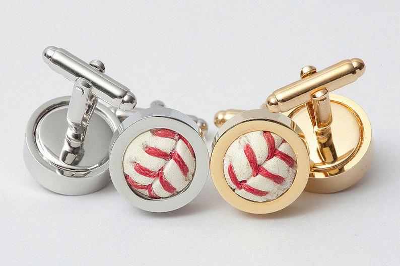 Game Used Baseball Cufflinks GOLD