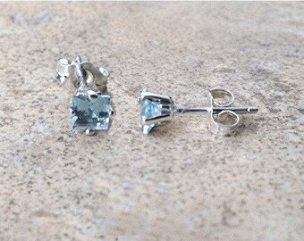 4mm genuine Aquamarine square stud earrings in Sterling Silver