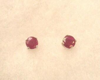 Genuine Ruby (July Birthstone) 4 mm stud earrings