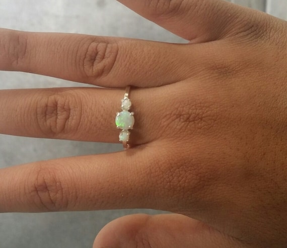 3 natural opal and genuine diamond 9CT GOLD ring World FREEPOST