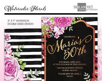 Glam Aquarell Blumen runden Geburtstag Einladung, Black & White Stripes, Hot Pink, Gold, Aquarell Blumen, Kate inspiriert druckbare