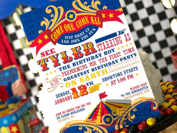 Circus Birthday Party Printable Invitation