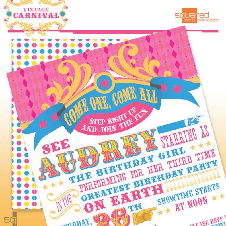 Vintage Carnival Circus Pink Printable Birthday Party