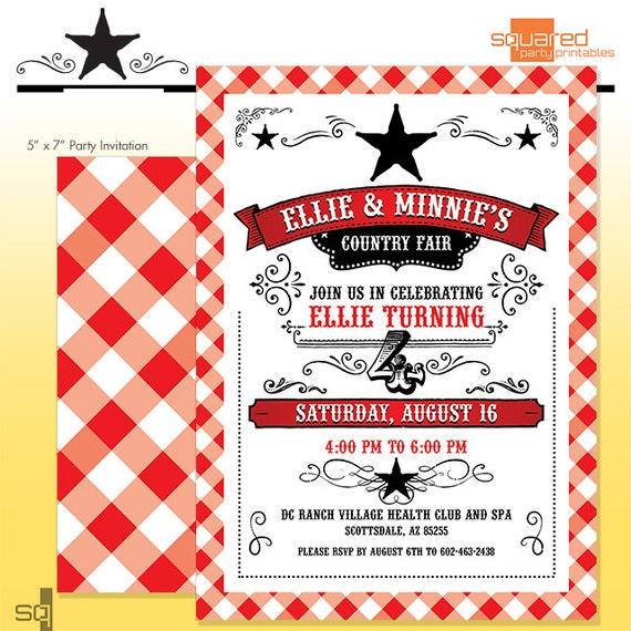 county fair party invitation summer bbq birthday party diy print