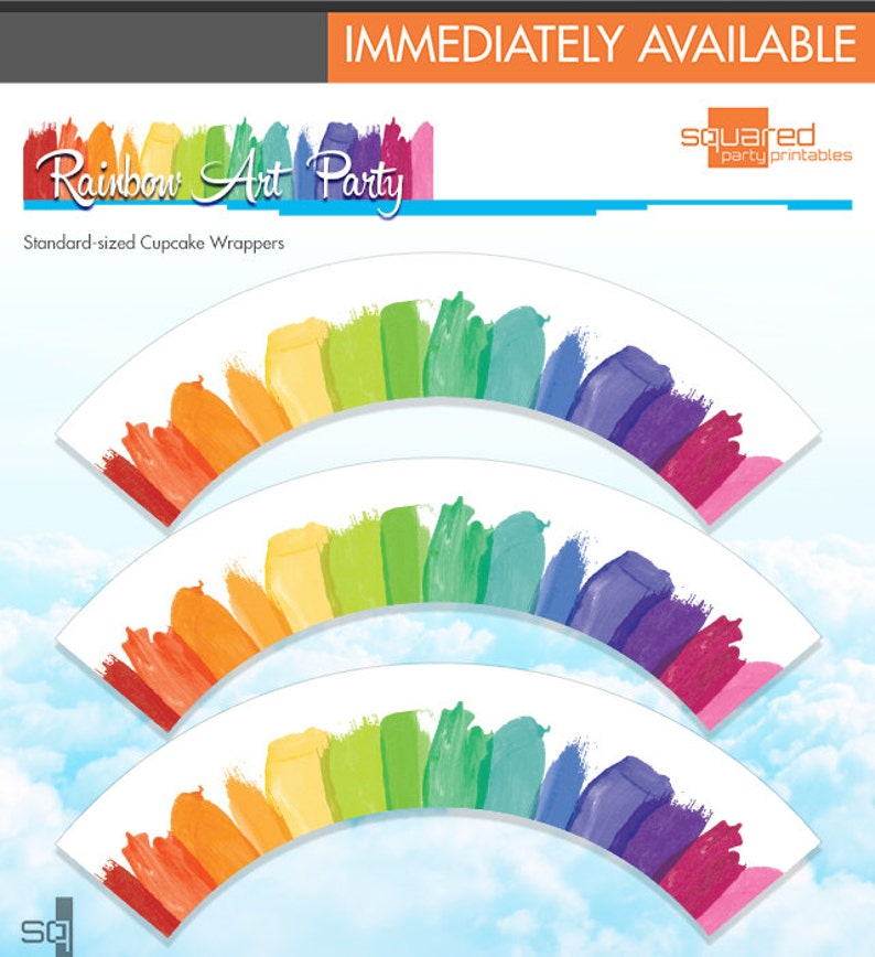 Rainbow Cupcake Wrappers  Rainbow Art Party Cupcake Wraps image 0