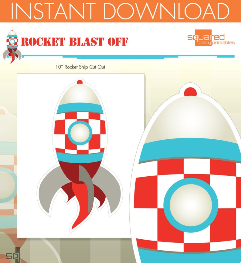 picture relating to Printable Rocket Ship titled Rocket Send Spaceship Birthday Get together Printables - Rocket Centerpiece Slice-Out - Do it yourself Print - Blast Off - Immediate Down load