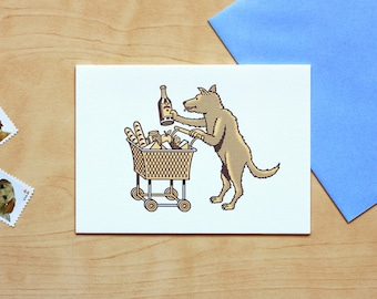Ski Racer Dog Letterpress Card