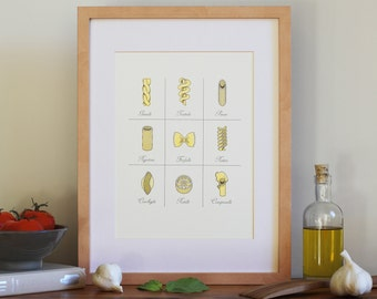 Letterpress Wall Art / Pasta Kitchen Print