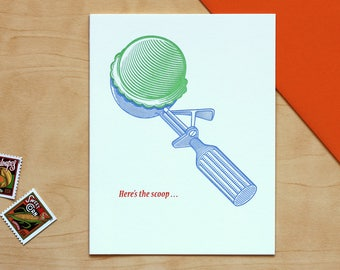 Here's the Scoop Ice Cream Letterpress Greeting Card