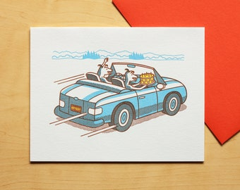 Dogs Make a Getaway with Birthday Cake Letterpress Card