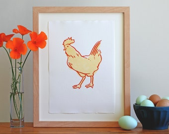 Letterpress Wall Art – Chicken Art Print