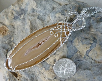 Brown Agate Necklace, Agate Necklace, Agate Pendant, Tan Agate, Wire Wrapped Agate, Sterling Silver Filled Agate, Wire Wrapped Necklace