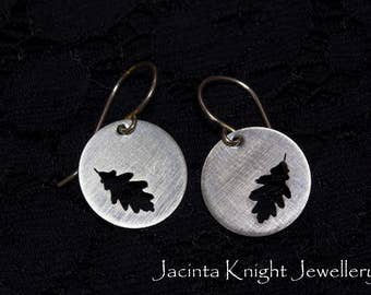 Sterling silver oak leaf earrings