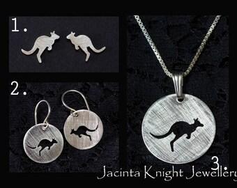 Sterling silver kangaroo earrings, studs or pendant