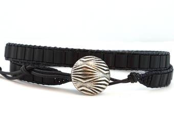 Wrap Bracelet, Beaded Wrap Bracelet, Leather Wrap Bracelet, Leather Bracelet, Black leather bracelet, Boho Bracelet ,Father's day gift