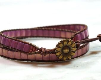 Flower bracelet, Nature bracelet, Wrap Bracelet, Leather wrap Bracelet, Beaded Wrap Bracelet, Boho Bracelet, Gifts for her, Beaded bracelet