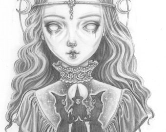 The High Priestess, a signed giclée print of my graphite drawing.