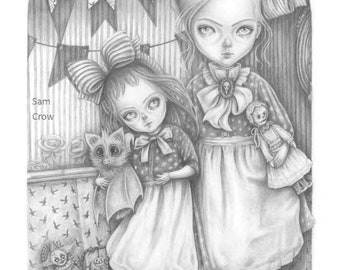 Subrina and Rosabel, a signed A5 or A4 Giclée art print