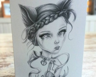 An A6 creepy-cute card, cat girl!