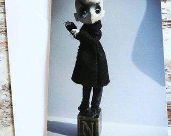An A6 creepy-cute card, of Nosferatu.