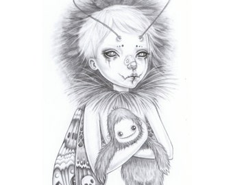 Little Moth boy and his sasquatch teddy, a signed giclée print of my graphite drawing.