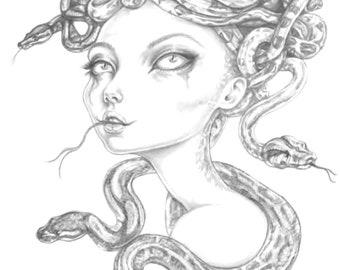 Medusa/gorgon , an A5 Giclee print on lovely smooth matt 300gsm paper