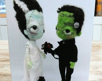 An A6 creepy-cute card, of my Frankenstein's Monster and his Bride