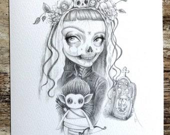 Day of the dead skeleton girl and her pukwudgie teddy , an A5 Giclee print on lovely smooth matt 300gsm paper