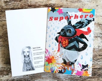 An A6 creepy-cute card, to thank all the superheros out there!