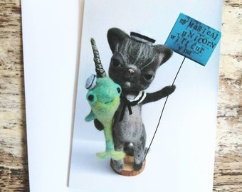 An A6 creepy-cute card, of Claude the cat and his Narwhal friend!