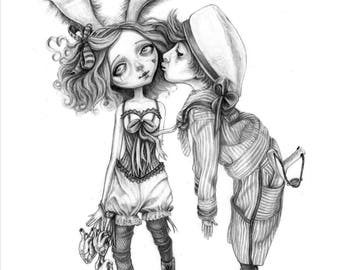 Bunny Girl, a creepy cute A6 postcard