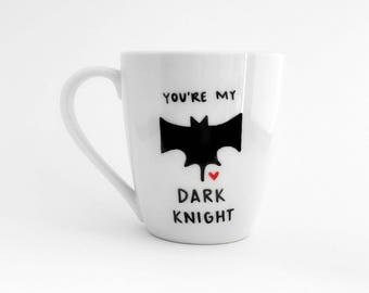 Dark Knight Mug | Batman Mug | Batman Gift | Large Mug | Upcycled Mug | Quote Mug | Gift Idea | Ceramic Coffee Tea Mug | Father's Day Gift