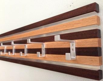 Coat Rack Wall Hanging  6 Double Hook Wood & Metal Modern Oak and Espresso Finish