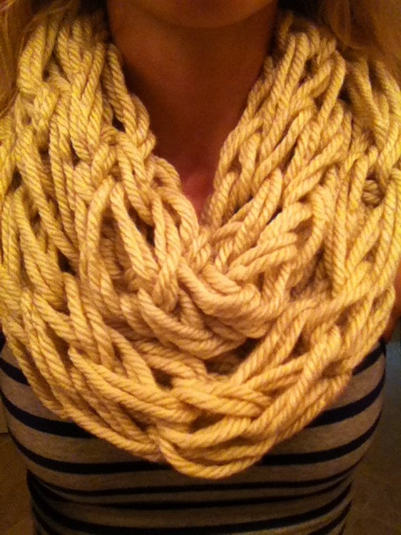 Items similar to Chunky Arm-knit Infinity Scarf on Etsy