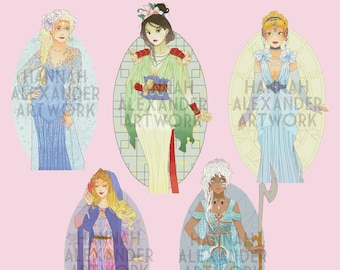 XSTITCH PATTERNS Oval Decorations (Elsa, Mulan, Cinderella, Aurora, Kida) - for Mucha Style Hannah Alexander Princesses, Cross Stitch