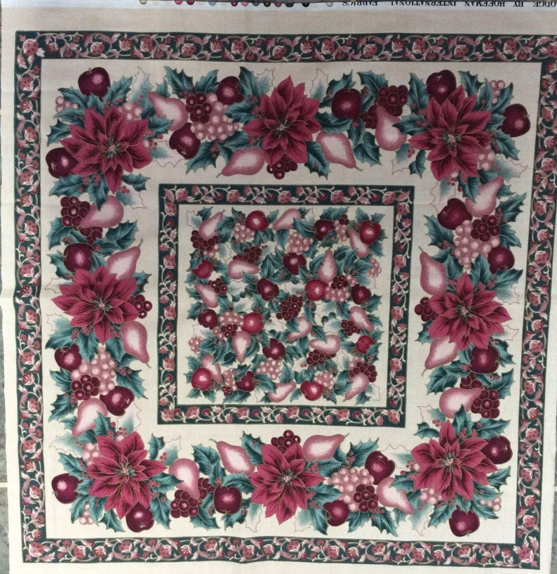 22 x 21.5 Vintage Poinsettia and Holly Berries Christmas Fabric Pillow Panel Vermont Lodge by Hoffman New Condition