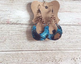 Copper Patina Earrings,  Crescent Moon Earrings, Bono Earrings