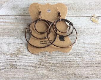 Triple Hoop Earrings, Copper Earrings, Hammered Hoop Earrings