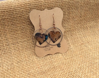 Verdigris Heart Earrings, Patina Heart Earrings