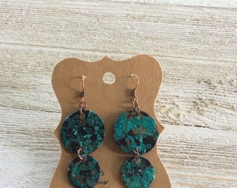 Verdigris Patina Circle Earrings