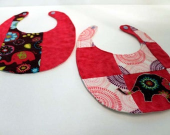 Elephant Patchwork Bib and Burp Cloth Set - Light Pink, Dark Pink, Purple, and White 5 Piece Set - SALE