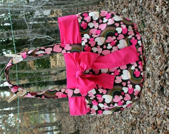 Large Purse - Heart and Rainbow Fabric with Adjustable Pink Bow and Trim - SALE