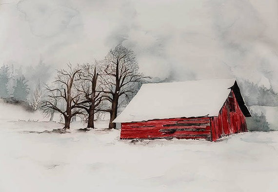 Large Watercolor Painting Of Red Barn In Snow Snow Scene