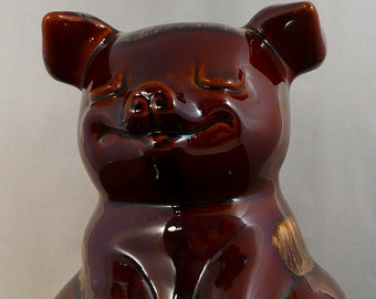 Hull Piggy Bank,Hull Collectible,Made in USA,Brown Porcelain Pig,Smiley Pig, Whimsical Pig,Bank Collector,Pig Collector,Pig Bank Collector
