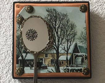 copper collage mirror,winter scene,recycled assemblage,wall art,wall decor,entryway mirror,lipstick mirror,cabin decor,rustic,office art